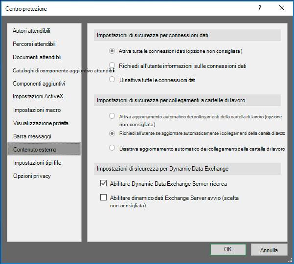 Impostazioni del contenuto esterno in Excel Trust Center