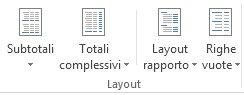 Opzioni Layout nel gruppo Layout della scheda Progettazione