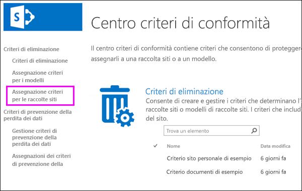 Collegare le assegnazioni dei criteri per le raccolte siti