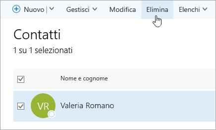 Screenshot del pulsante Elimina nella pagina Persone.