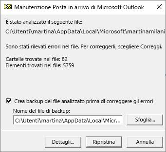 Visualizza i risultati dell'analisi del file di dati PST di Outlook usando lo strumento Manutenzione Posta in arrivo, SCANPST.EXE