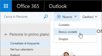 Screenshot del comando Nuovo con Elenco contatti selezionato.
