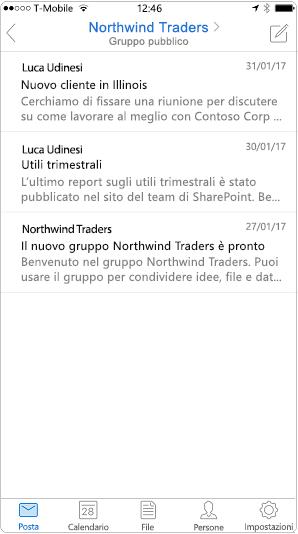 Visualizzazione conversazione nell'app per dispositivi mobili di Outlook