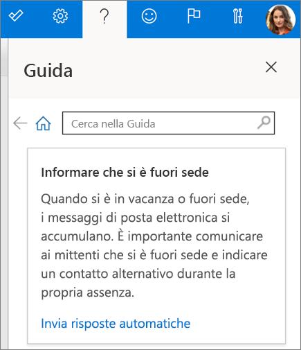 Riquadro della Guida in Outlook sul Web
