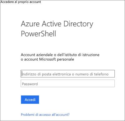 Immettere le credenziali di amministratore di Azure Active Directory