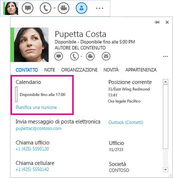 Immagine del contatto e della scheda contatto nella barra di accesso rapido di Lync, con calendario e pianificazione delle riunioni in evidenza