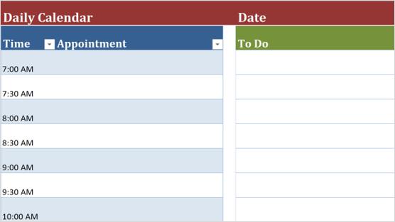 Immagine di un modello di calendario giornaliero
