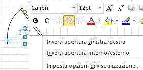 Fare clic con il pulsante destro del mouse su una forma per visualizzare ulteriori comandi