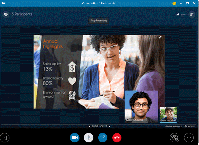 Finestra delle riunioni di Skype for Business