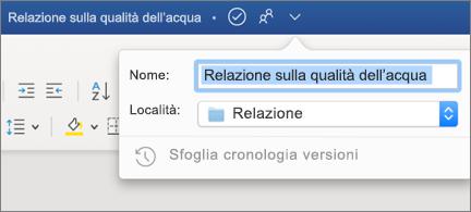 Elenco a discesa nella barra del titolo che mostra un nome e un percorso di file