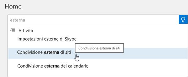 Screenshot della digitazione della condivisione esterna nella casella di ricerca della home page dell'interfaccia di amministrazione