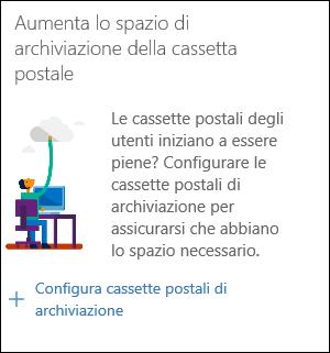 """Schermata del widget """"Aumentare lo spazio di archiviazione della cassetta postale"""" nel Centro sicurezza e conformità"""