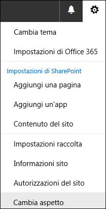 Schermata che mostra l'opzione del menu Cambia aspetto di SharePoint.