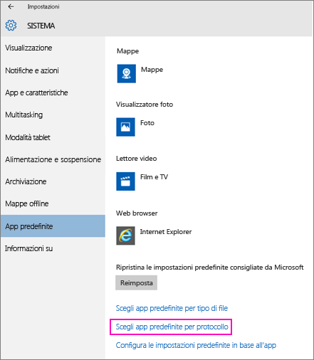 Screenshot dell'impostazione Configura le impostazioni predefinite in base all'app in Windows 10.