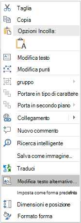 Dal menu PowerPoint Win32 modifica Alt testo per le forme