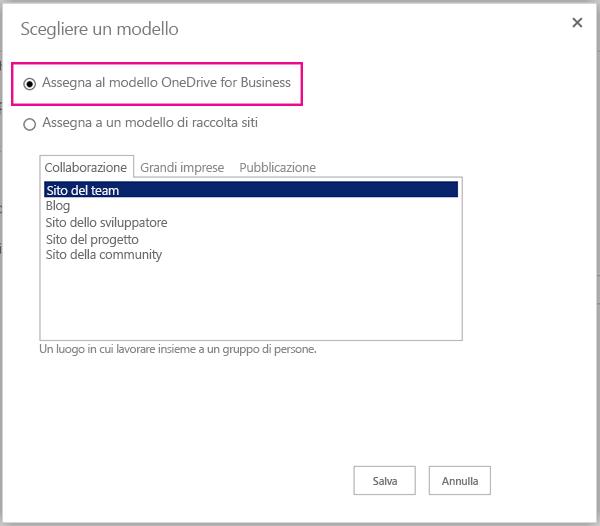 Scegliere una pagina di modello con l'opzione OneDrive