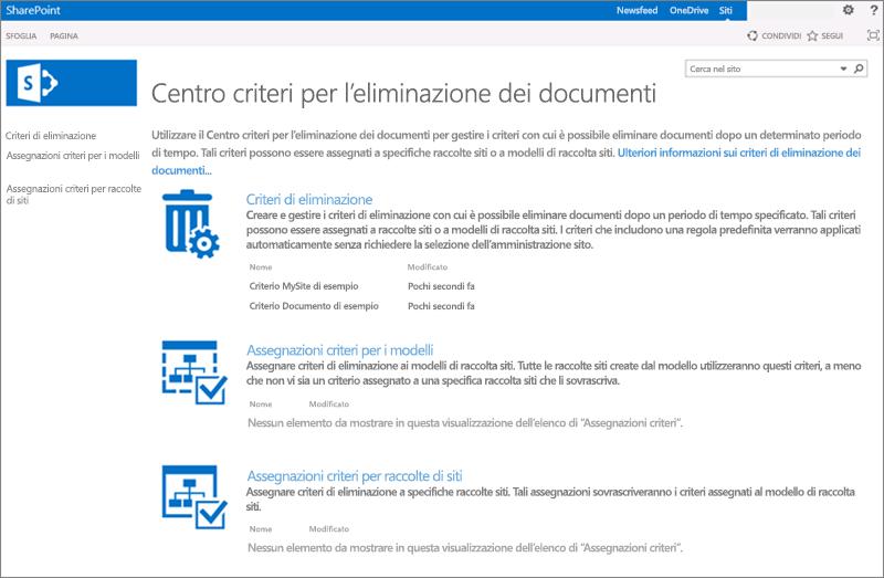 Home page del centro criteri di eliminazione dei documenti
