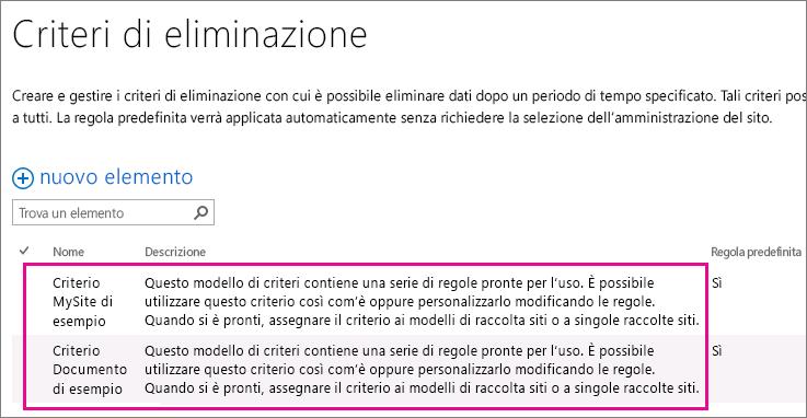 Criteri di eliminazione dei documenti di esempio