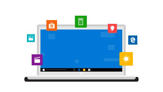 Windows 10 の主な機能のアイコンで囲まれた ノート PC