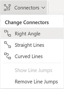 リボンの [図形] タブには、オプションの [コネクタ] メニューがあります。