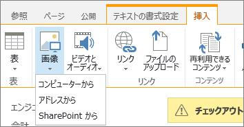 ソースのオプション メニューが下に表示された [画像の挿入] ボタン。