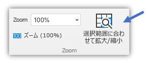リボンの [表示] タブにある [選択範囲に合わせて拡大/縮小] ボタンを示すスクリーン ショット。
