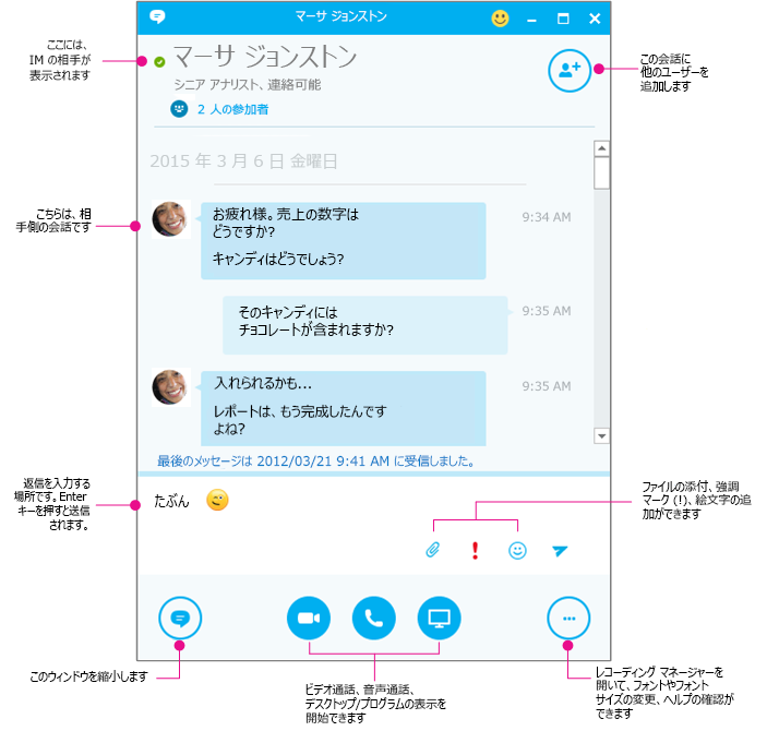 Skype for Business IM ウィンドウの図