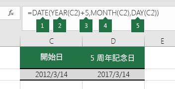 別の日付に基づいて日付を計算する