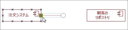 コンポーネント図形に接着された提供インターフェイス図形