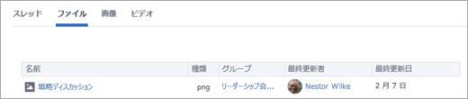 [ファイル] をクリックして、ユーザーが作成したすべてのファイルを表示する