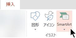 [挿入] タブの [SmartArt] を選択します。
