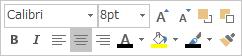 テキストを編集するフローティング ツール バーまたはミニ ツール バー