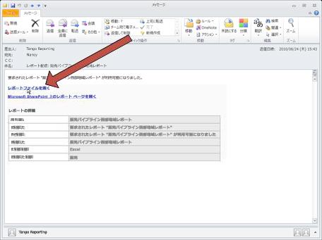 Duet でレポートを配信するときには、メール通知メッセージを送信します。