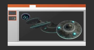 """"""" 変形"""" 切り替え効果の再生を含む 1 枚のスライドが表示されているプレゼンテーション"""