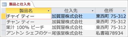 製品と仕入先データの画面スニペット