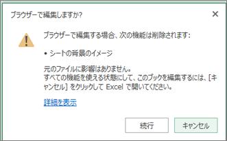 背景画像が含まれたワークシートを開こうとしたときに表示されるメッセージ
