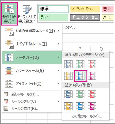 条件付き書式データ バーのスタイル ギャラリー