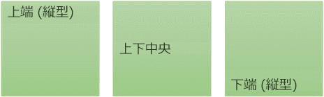3つの縦書きテキスト配置オプション: 上、中央、下
