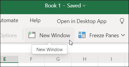 リボンの [新しいウィンドウ] Excel for the web
