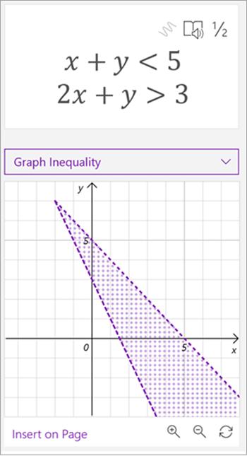 数式 x + y が 5 未満、2x + y が 3 より大きい、両方の線がプロットされ、その間の領域が網掛けされた数式の数式アシスタントによって生成されたグラフのスクリーンショット