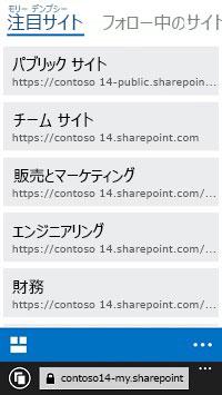 モバイル デバイスに表示される SharePoint Online の注目サイト