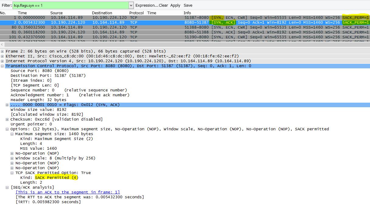 フィルターに tcp.flags.syn == 1 を設定して Wireshark に表示された SACK