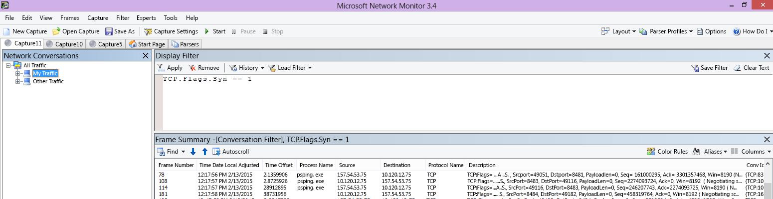 フィルターに TCP.Flags.Syn == 1 を設定して同じ PSPing コマンドを実行したクライアントの Netmon トレース結果