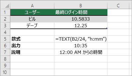 例: 時間を10進数から標準の時刻に変換する