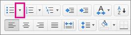 箇条書きアイコンの横にある矢印をクリックして、行頭文字を選ぶか追加します。