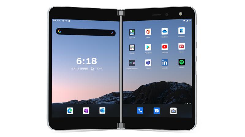 ホーム画面が表示された状態で開かれている Surface Duo