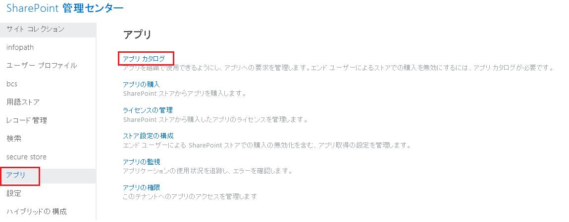 SharePoint 管理センターのアプリのカテゴリのスクリーンショットです。