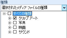 [種類] ボックスで、検索結果に含めるメディアの種類を選択します。