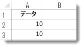 Excel ワークシートのセル A2 と A3 のデータ