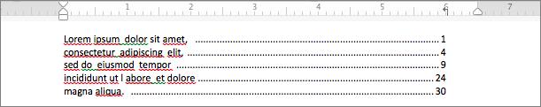 点線リーダーの使用例